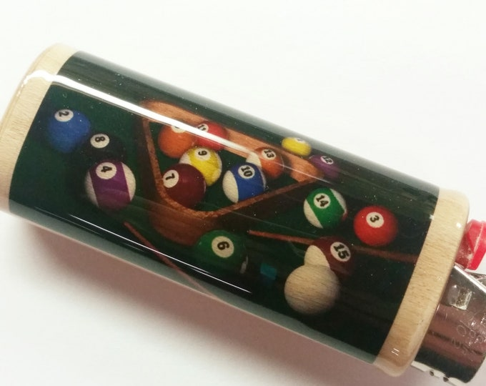 Billiards Cue Stick Pool Table Wood Lighter Case Holder Sleeve Cover Fits Bic Lighters