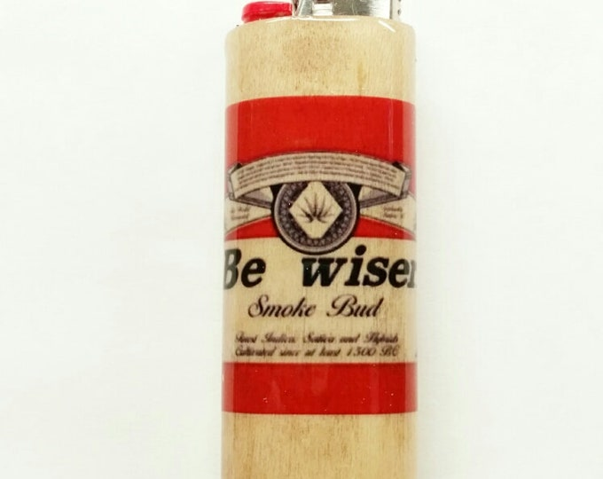 Be wiser Wood Lighter Case Holder Sleeve Cover Smoke Bud Pot Weed Marijuana Ganja Fits Bic Lighters