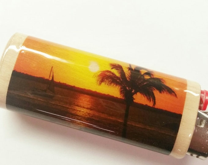 Sunset Tropical Wood Lighter Case Holder Sleeve Cover Fits Bic Lighters