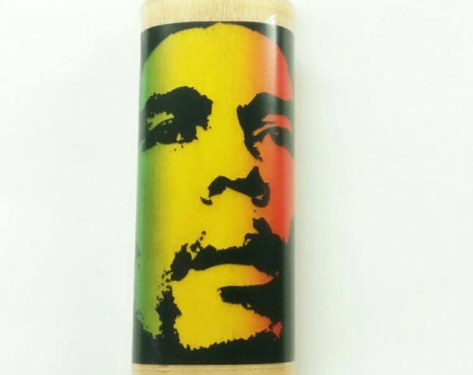 Bob Marley Rasta Pot Weed Marijuana Ganja Cannabis Wood Lighter Case Holder Sleeve Cover Fits Bic Lighters