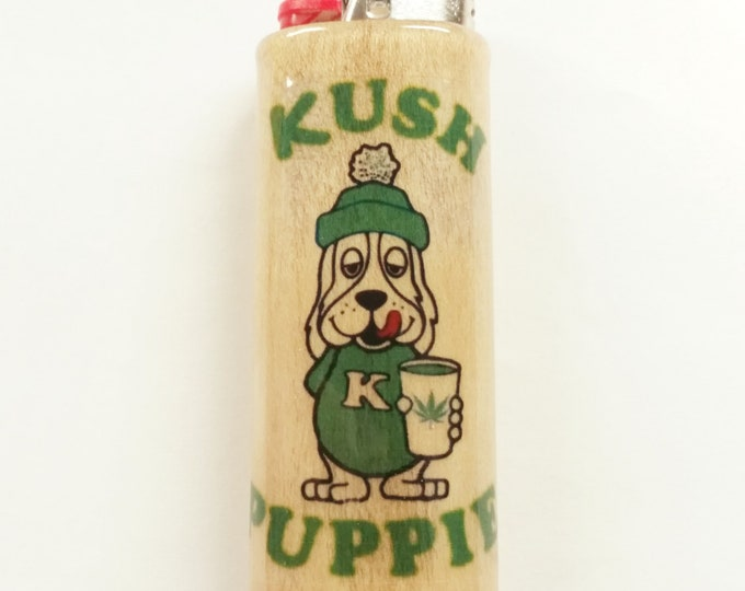 Kush Puppie Kush Puppy Wood Lighter Case Holder Sleeve Cover Fits Bic Lighters