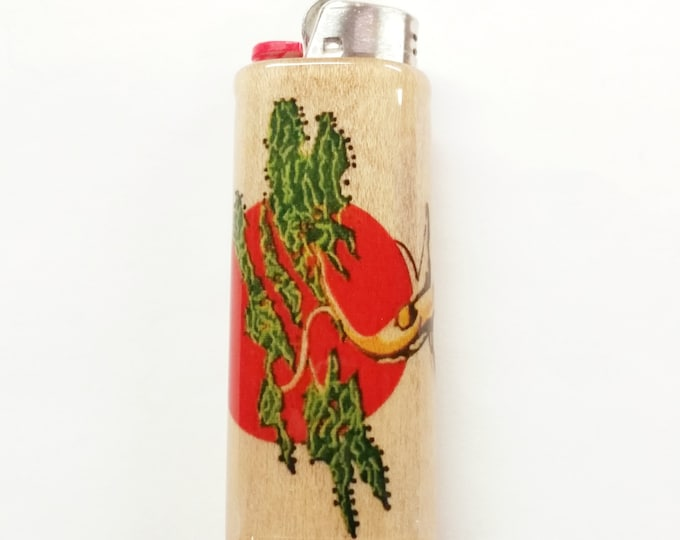 Bonsai Tree Wood Lighter Case Holder Sleeve Cover Fits Bic Lighters