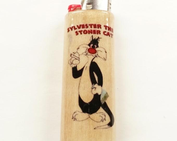 Sylvester the Cat Wood Lighter Case Weed Marijuana Ganja Hemp Holder Sleeve Cover Fits Bic Lighters