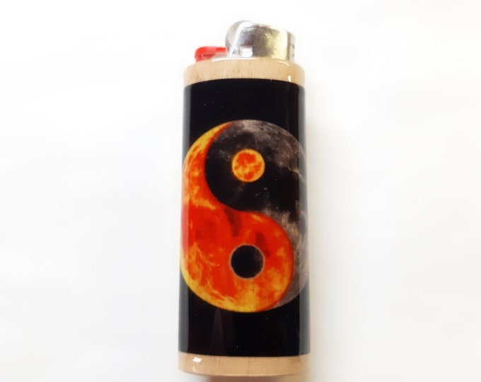 Yin Yang Wood Lighter Case Holder Sleeve Cover Fits Bic Lighters