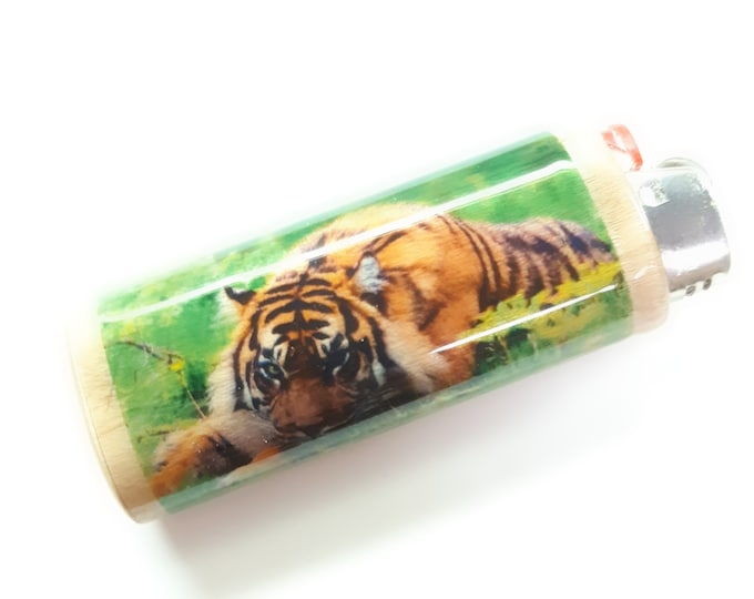 Tiger Wood Lighter Case Holder Sleeve Cover Fits Bic Lighters