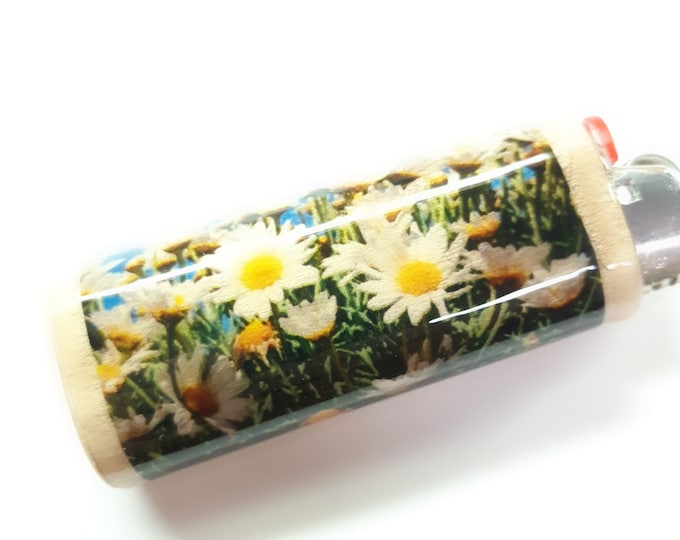 Daisies Wood Lighter Case Holder Sleeve Cover Fits Bic Lighters