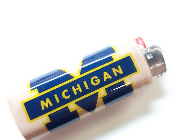 Michigan Wolverines Wood Lighter Case Holder Sleeve Cover Fits Bic Lighters