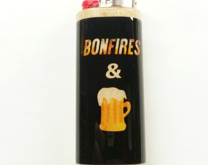 Bonfires and Beer Wood Lighter Case Holder Sleeve Cover Fits Bic Lighters
