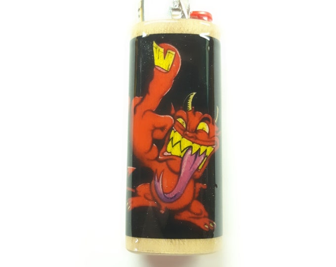 Devil Wood Lighter Case Holder Sleeve Cover Fits Bic Lighters