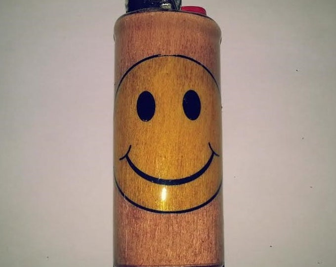 Smiley Face Wood Lighter Case Holder Sleeve Cover Fits Bic Lighters Fits Bic Lighters