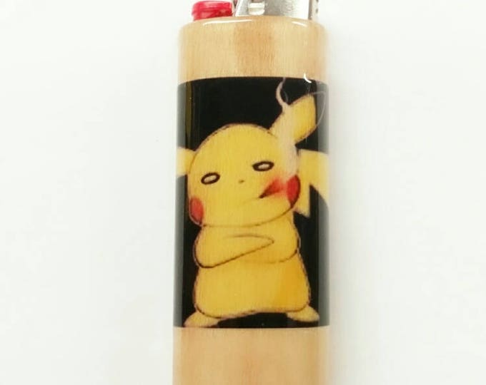 Smoking Pikachu Pokémon Wood Lighter Case Weed Marijuana Ganja Hemp Holder Sleeve Cover Fits Bic Lighters