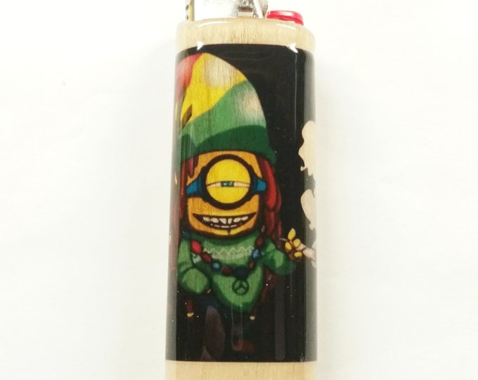 Rasta Minion Wood Lighter Case Holder Sleeve Cover Fits Bic Lighters