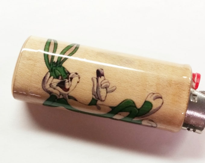 Green Bugs Bunny Joint Wood Lighter Case Holder Sleeve Cover Fits Bic Lighters