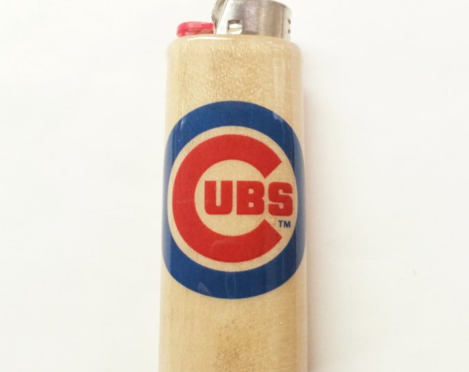 Chicago Cubs Wood Lighter Case Holder Sleeve Cover Baseball MLB Fits Bic Lighters