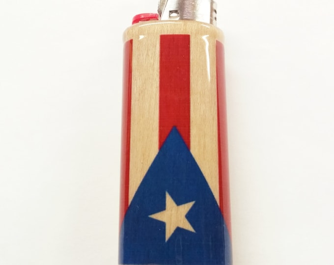 Puerto Rican Flag Wood Lighter Case Flag of Puerto Rico Holder Sleeve Cover Fits Bic Lighters
