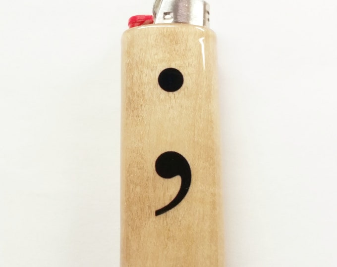 Semicolon Lighter Wood Case Holder Sleeve Cover Fits Bic Lighters