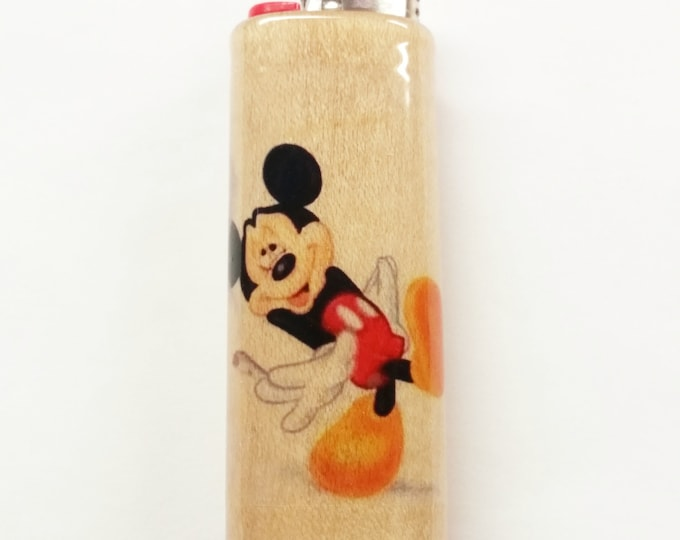 Mickey Mouse Joint Wood Lighter Case Holder Sleeve Cover Fits Bic Lighters