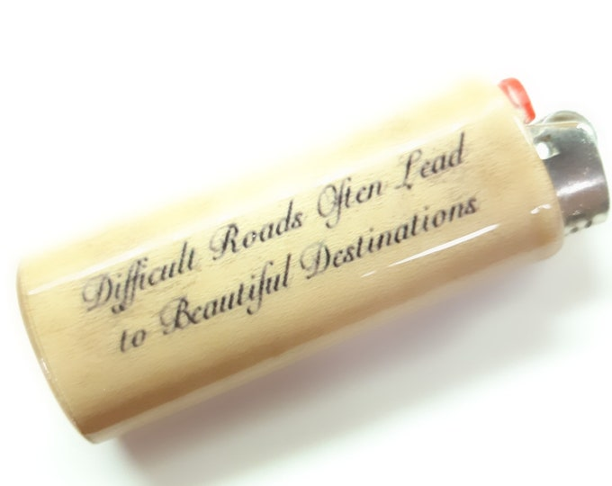 Difficult Roads Often Lead to Beautiful Destinations Wood Lighter Case Holder Sleeve Cover Fits Bic Lighters