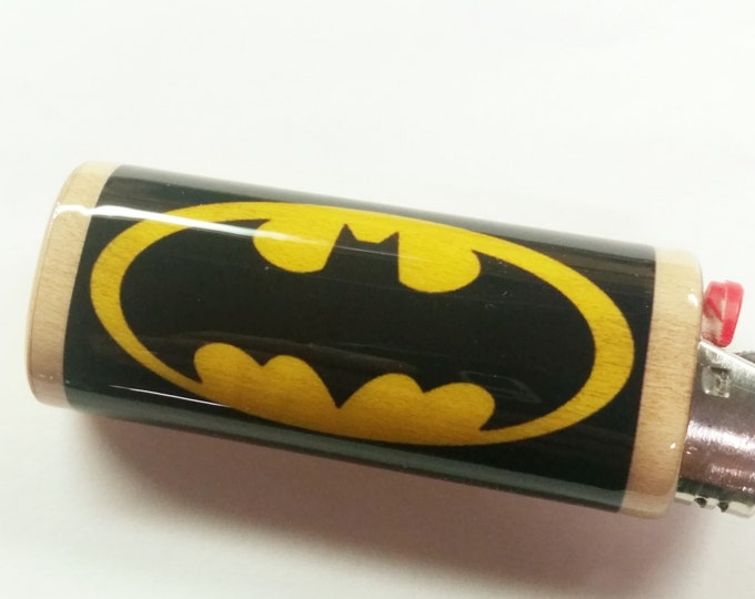 Batman Wood Lighter Case,Lighter Holder Lighter Sleeve Cover Fits Bic Lighters