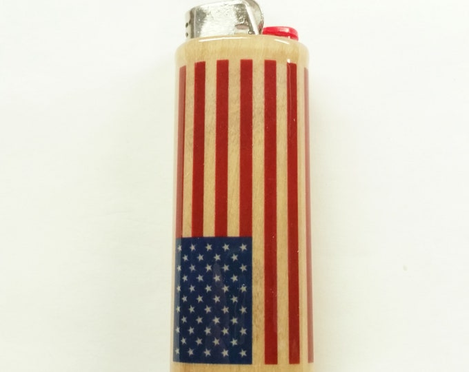American Flag Wood Lighter Case United States Lighter Holder Sleeve Cover Fits Bic Lighters