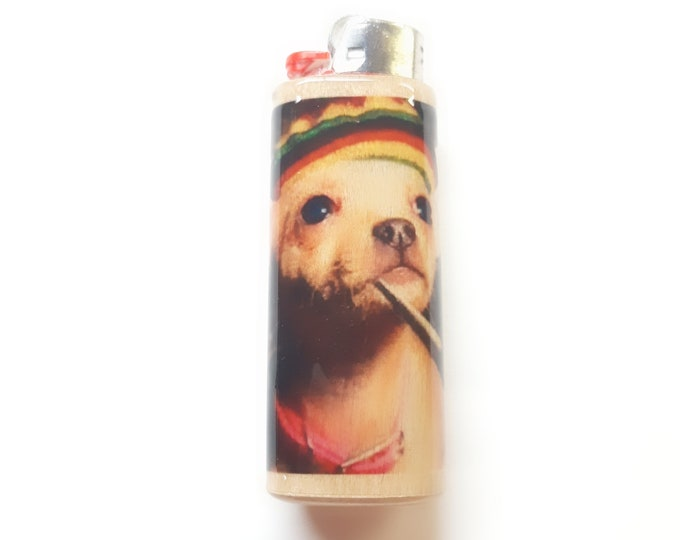 Dog Smoking Weed Joint Wood Lighter Case Holder Sleeve Cover Fits Bic Lighters