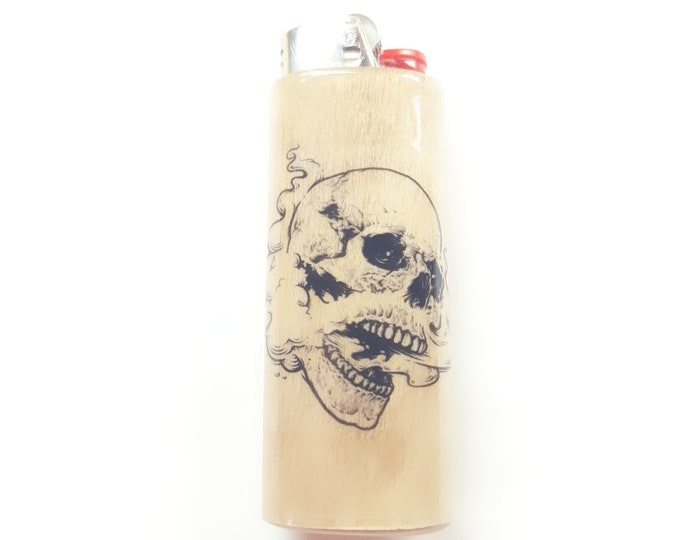 Smoking Skull Wood Lighter Case Holder Sleeve Cover Fits Bic Lighters