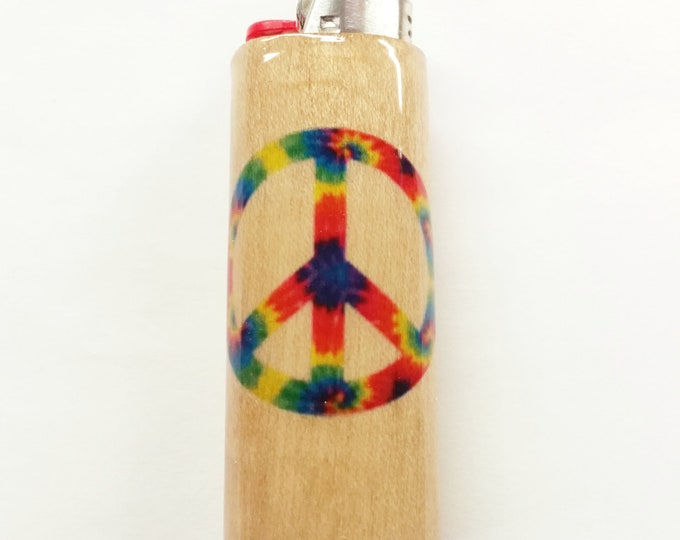 Peace Sign Lighter Case Holder Sleeve Cover Fits Bic Lighters