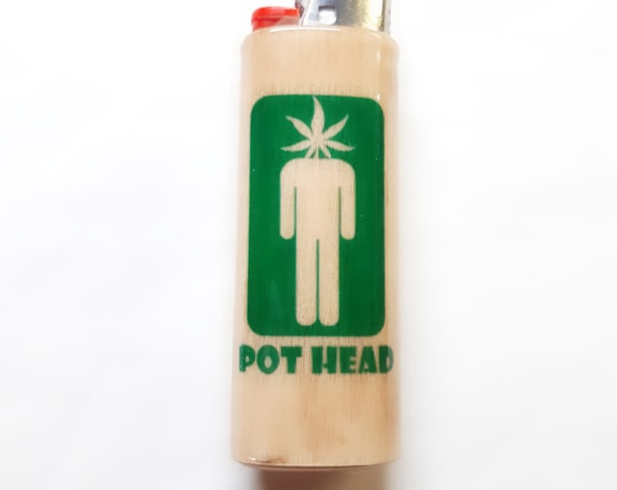 Pothead Wood Lighter Case Holder Sleeve Cover Fits Bic Lighters