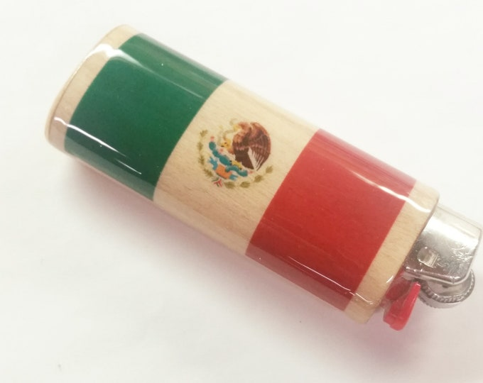 Mexican Flag Wood Lighter Case Holder Sleeve Cover Flag of Mexico Fits Bic Lighters
