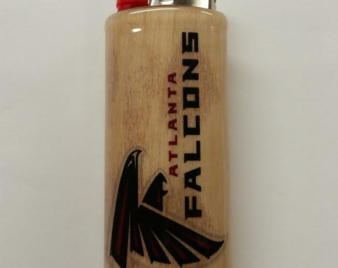 Atlanta Falcons Wood Lighter Case Holder Sleeve Cover Fits Bic Lighters
