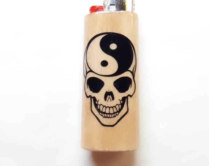 Yin Yang Skull Wood Lighter Case Holder Sleeve Cover Fits Bic Lighters