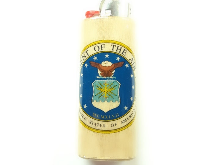 U.S. Air Force Wood Lighter Case Holder Sleeve Cover Fits Bic Lighters