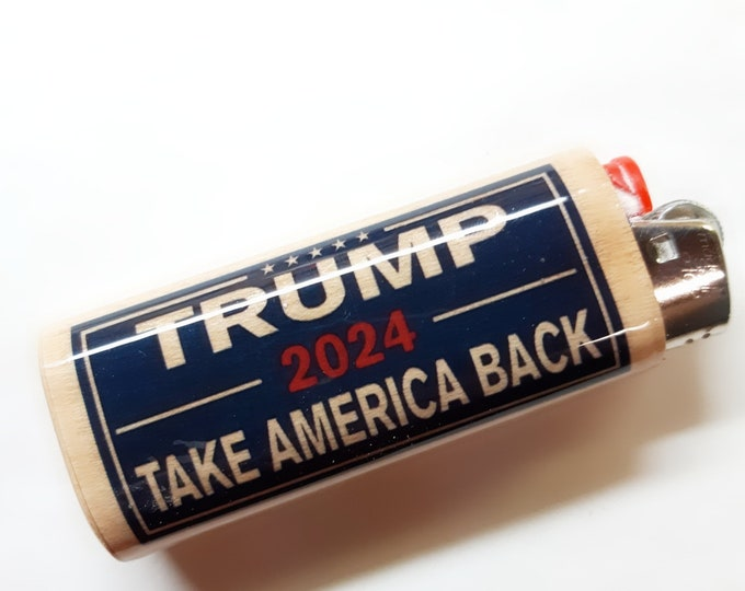 Trump 2024 Take America Back Wood Lighter Case Holder Sleeve Cover Fits Bic Lighters