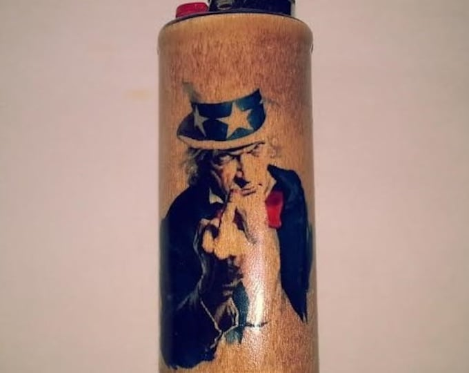 Uncle Sam Flipping Off Giving Bird Wood Lighter Case Holder Sleeve Cover Fits Bic Lighters