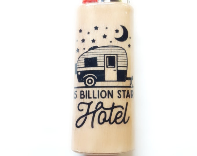 Camping Camper 5 Billion Star Hotel Wood Lighter Case Holder Sleeve Cover Fits Bic Lighters