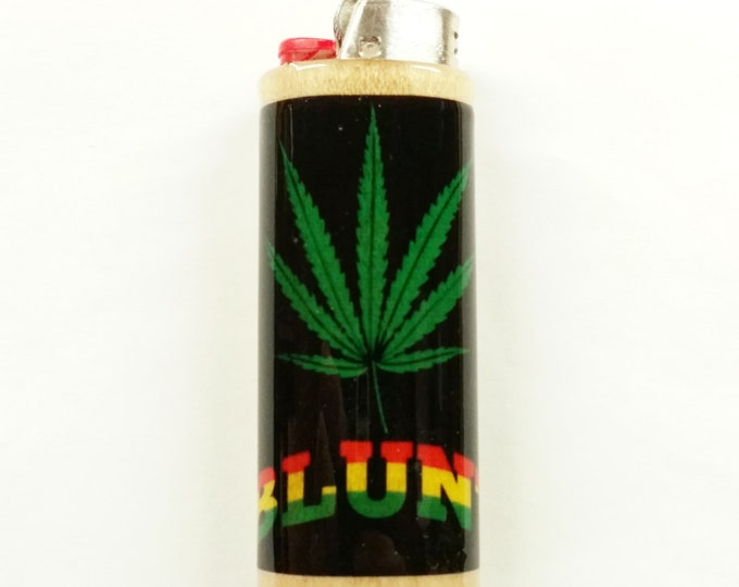 Blunt Wood Lighter Case, Weed, Marijuana, Ganja, Hemp Holder Sleeve Cover Fits Bic Lighters
