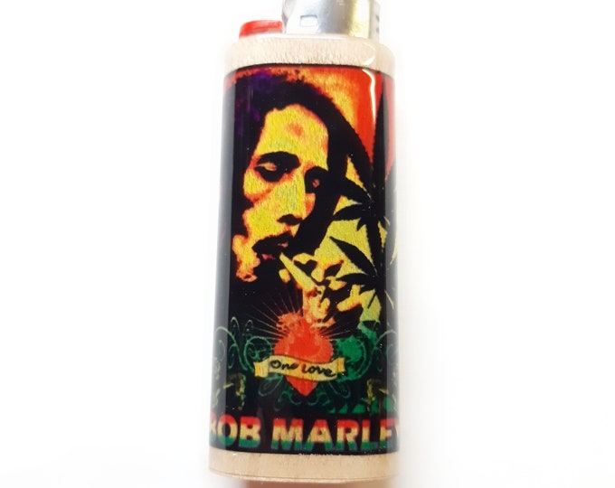 Bob Marley One Love Wood Lighter Case Holder Sleeve Cover Fits Bic Lighters