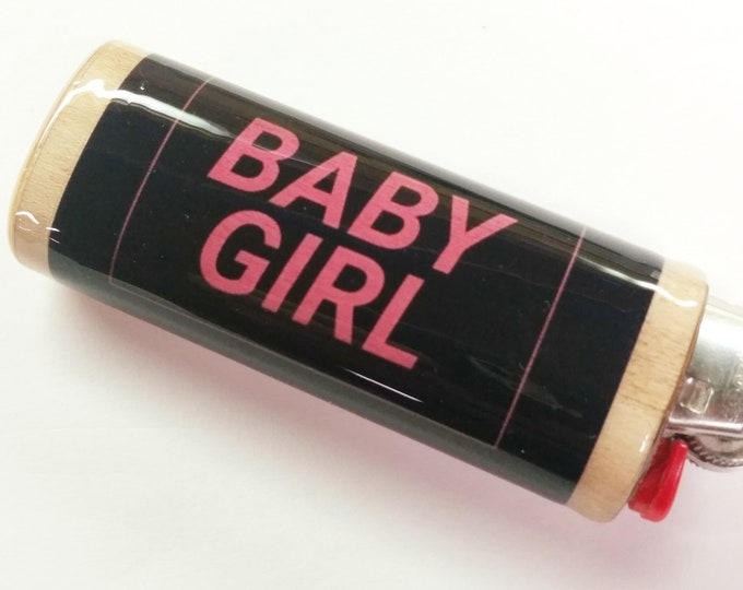 Baby Girl Wood Lighter Case Holder Sleeve Cover Gift for Her Fits Bic Lighters