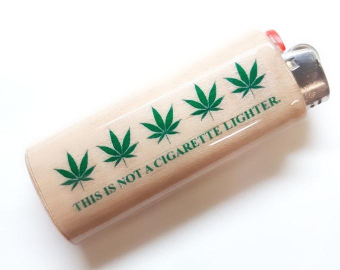 This Is Not a Cigarette Lighter Pot Leaf Wood Lighter Case Holder Sleeve Cover Fits Bic Lighters