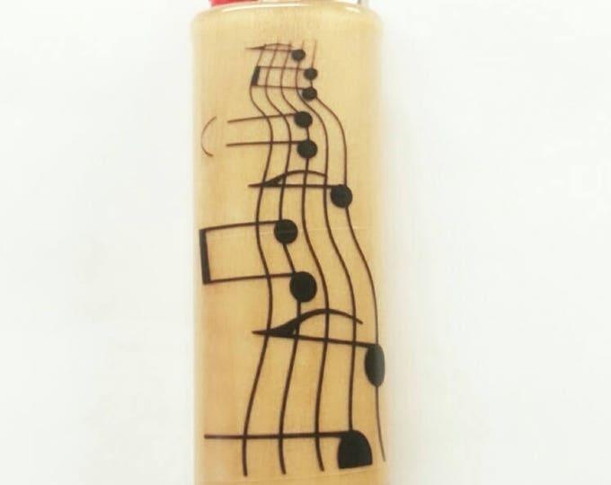 Musical Notes BIC Lighter Case Holder Sleeve Cover Musician Music