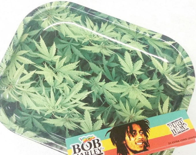Pot Leaf Rolling Tray Bob Marley Rolling Papers Green Leaf Metal Tobacco Rolling Tray King Size Pure Hemp Rolling Papers