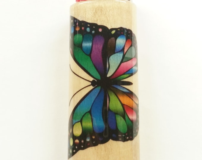 Butterfly Butterflies Wood Lighter Case Holder Sleeve Cover Fits Bic Lighters