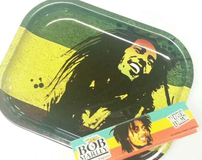 Bob Marley Rolling Tray Rolling Papers Metal Tobacco Rolling Tray King Size Pure Hemp Rolling Papers
