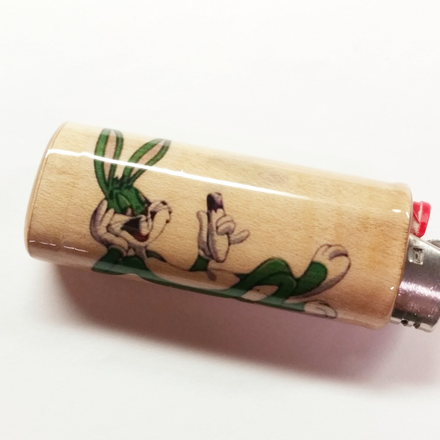 59f8d0d5cb2e Green Bugs Bunny Joint Wood Lighter Case Holder Sleeve Cover Fits Bic  Lighters. 1