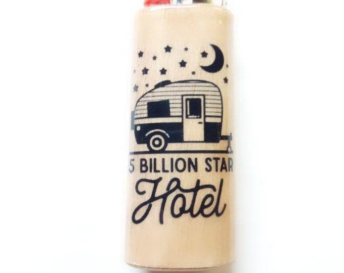 Camping Camper 5 Billion Star Hotel Wood Lighter Case Holder Sleeve Cover Fits Bic Lighters