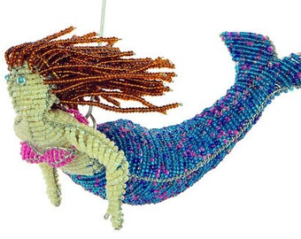 Glass Beaded Mermaid Figurine - Available in 5 color schemes - Wireworx Collectible Mermaid Ornament