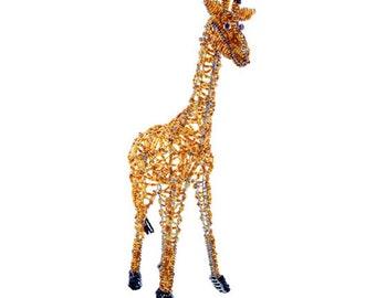 African Fair Trade Beaded Giraffe - Wireworx wire and glass beaded animal