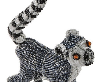 African Fair Trade Small Beaded Lemur - Wireworx wire beaded animal