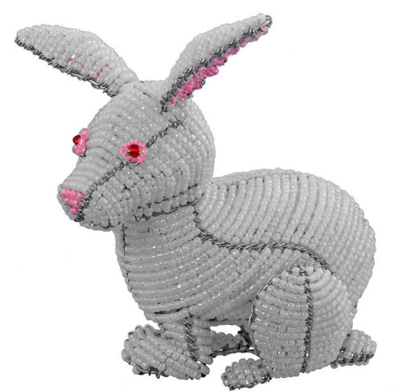 Wireworx wire and glass beaded animal African Fair Trade Beaded Rabbit