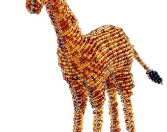 African Fair Trade Small Beaded Giraffe - Wireworx wire and glass beaded animal - collectible giraffe figurine